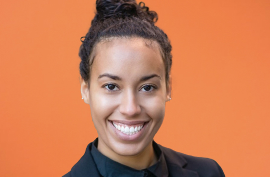Photo of Ayana Crawford over an orange background