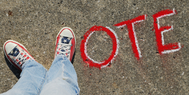 An image with the word vote