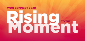 logo from WDN Connect 2020 showing the words Rising to the Moment over the colors of the sunrise