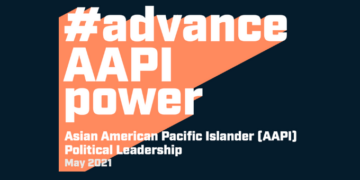 "ID: dark blue background with the words ""advance AAPI Power"""