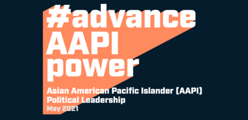 """ID: dark blue background with the words """"advance AAPI Power"""""""